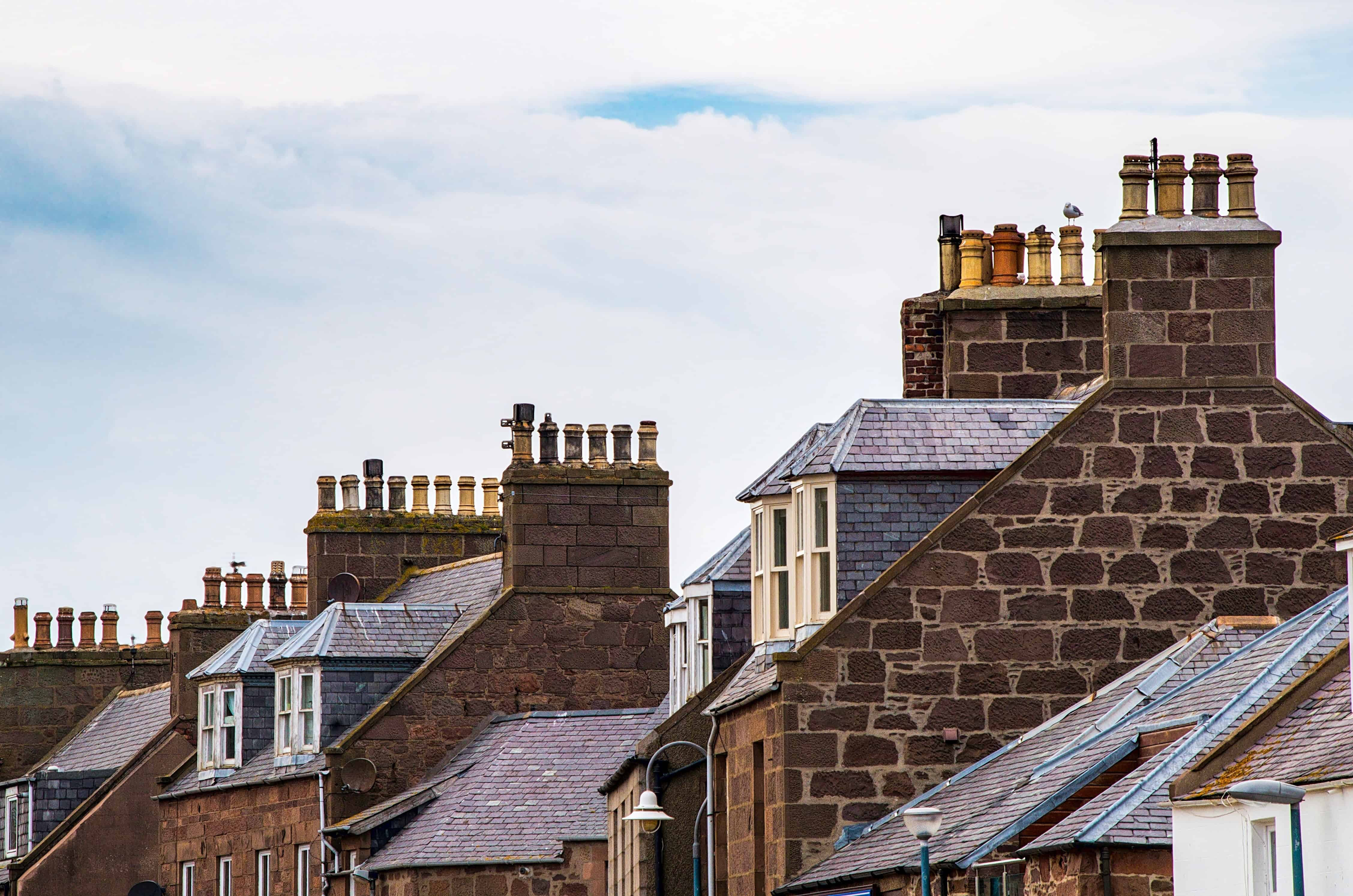 Rooftops with chimneys